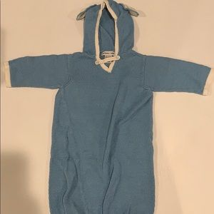 Zackali baby gown with hood blue white ears 3-6m